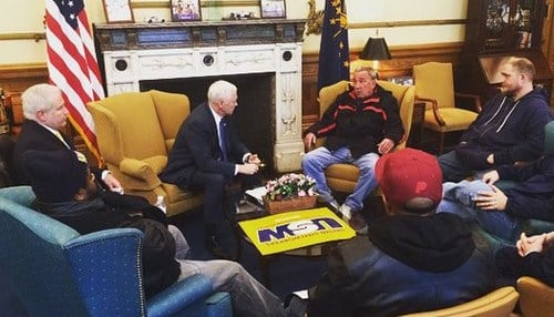 Pence met with union officials following his meeting with UTC leaders Wednesday.