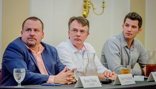 The panelists at the organization's annual meeting included (from left to right) Launch Fishers founder John Wechsler, DeveloperTown partner Ken Miller and Verge founder Matt Hunckler.