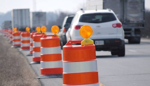 Temporary striping and concrete barrier walls along northbound I-65 are set to go up April 1.