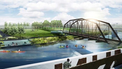 A signature feature of the trailhead will be the relocated 1900s-era Albany Bridge over the White River.