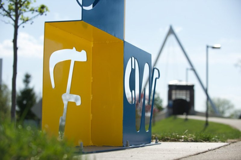 (Image of campus sculpture during the university's 50th anniversary in 2014 courtesy of IPFW.)