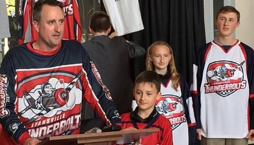 Thunderbolts owner Mike Hall was joined by his children for the unveiling.