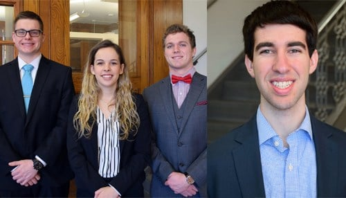 Pictured Left: The Bee Corp. co-founders Lucas Moehle, Ellie Symes and Simon Kuntz. Pictured right: CareBand founder Adam Sobol.)