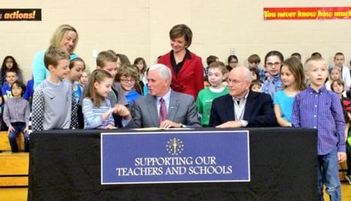 Former Governor Mike Pence ceremonially signed HEA 1395 into law in March 2016, putting in motion a committee to help develop a replacement for ISTEP.