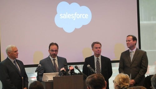 Governor Mike Pence and Indianapolis Mayor Joe Hogsett joined Salesforce officials for the announcement. (photo courtesy Indiana Economic Development Corp.)