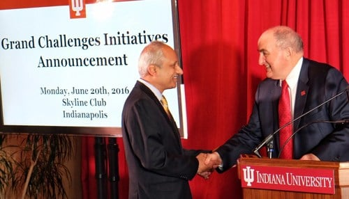 IU President Michael McRobbie (pictured right) announced the winning team, led by Anantha Shekhar (pictured left) at the Skyline Club Monday in Indianapolis.