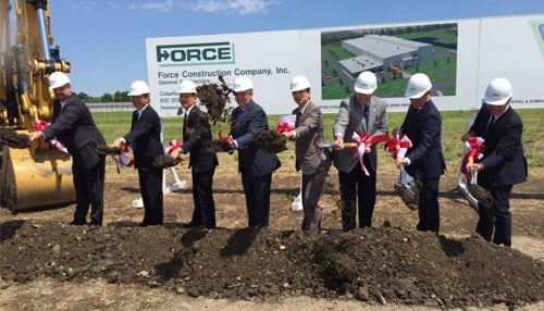 Governor Mike Pence and Shelbyville Mayor Tom DeBaun joined NSSMC officials for the ground breaking.