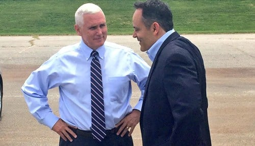 In 2016, then-Governor Mike Pence (left) and Governor Matt Bevin (right) signed a memorandum of understanding on behalf of their respective states to develop the project.