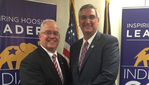 Indiana GOP Chairman Jeff Cardwell (left) and Lieutenant Governor Eric Holcomb
