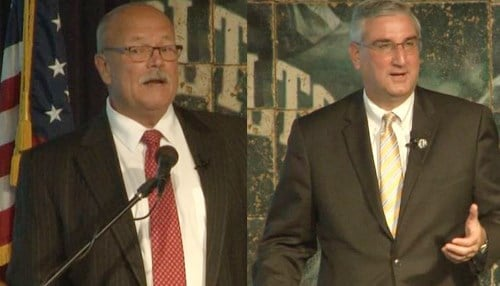 Image of John Gregg (left) and Eric Holcomb (right) courtesy of the Indianapolis Colts.