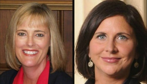 Pictured: Lt. Governor candidates (R) Suzanne Crouch and (D) Christina Hale.