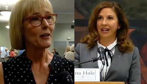 Republican Suzanne Crouch is pictured left and Democrat Christina Hale is pictured right.