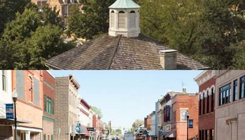The town of Corydon (top picture courtesy of Visit Indiana) and the city of Rushville (bottom picture courtesy of the city of Rushville) are 2016 Stellar Communities designees.
