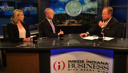 Valerie Shaffer (left) and Dave Snow (right) on an August 2016 appearence on Inside INdiana Business Television.