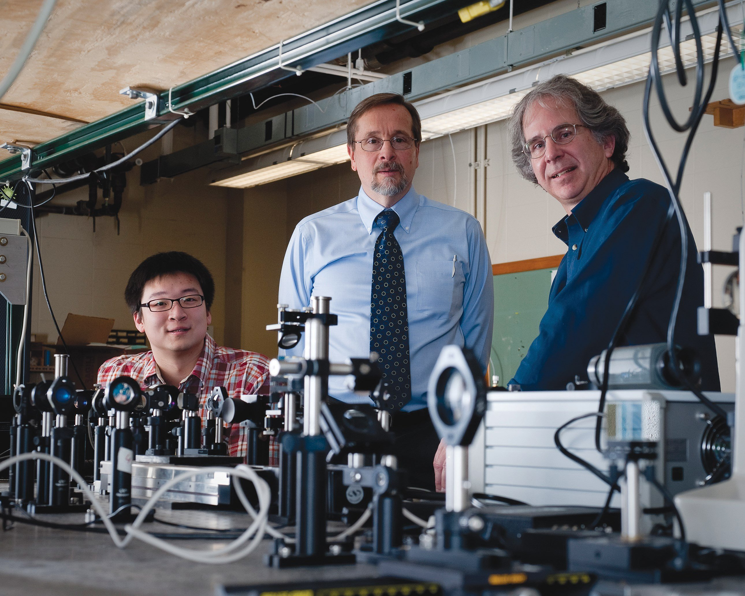 Animated Dynamics co-founders are (from left): Purdue University Graduate Assistant Ran An, Purdue Professor of Basic Medical Sciences John J. Turek and Edward M. Purcell Distinguished Professor of Physics David Nolte.
