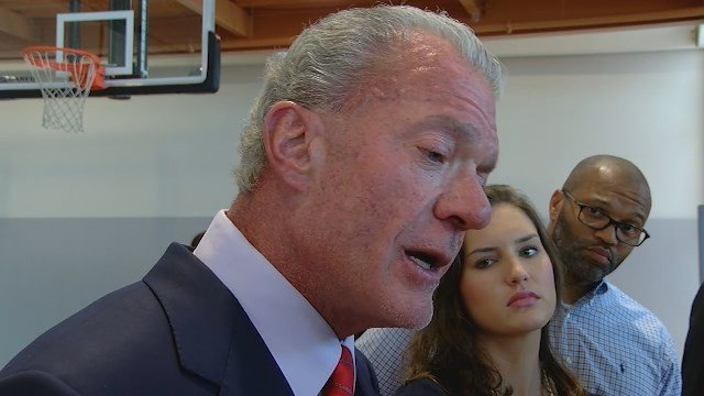 Indianapolis Colts owner Jim Irsay talks to the media.