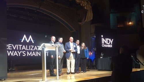 The Monumental Award was accepted by representatives of The Town of Speedway.