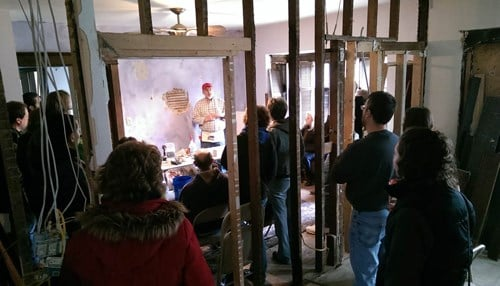 A plaster repair workshop at the vintage Smogor House in South Bend