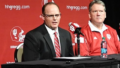 Tom Allen, pictured left next to IU Athletic Director Fred Glass, will be the next head football coach of the Hoosiers.