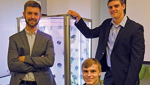 The Hydro Grow LLC team (from left-to-right) Scott Massey, Jimmy Carlson and Ivan Ball. (Image courtesy of the Purdue Research Foundation)