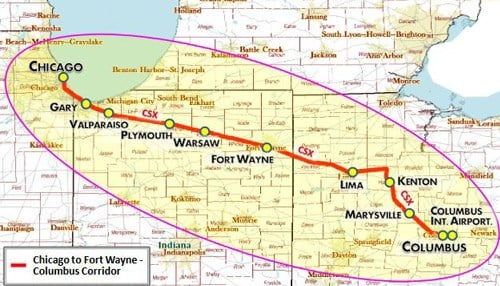 (Image of proposed line courtesy of a feasibility study prepared for the Northeast Indiana Passenger Rail Association.)