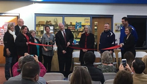 Officials held a ribbon-cutting for a clinic at Southwestern Jefferson Elementary School in Austin. (Image courtesy of the Indiana Rural Health Association.)