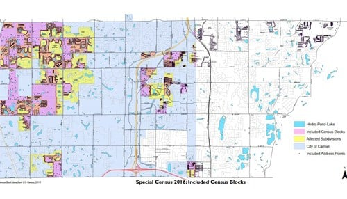 (Image of Special Census Map Provided by the City of Carmel) The partial special census figures were drawn from a collection effort that took place between August and October.