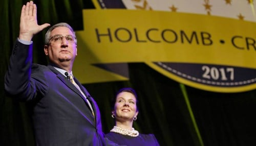 Eric Holcomb (pictured with wife Janet Holcomb) was sworn-in as Indiana's 51st governor January 9, 2017.