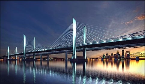 The newly constructed Ohio River Bridges are expected to generate $87 billion in economic impact in the next 30 years.
