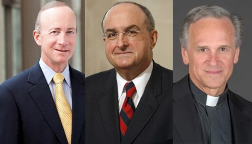 (From left-to-right: Purdue President Mitch Daniels, IU President Michael McRobbie, Notre Dame President John Jenkins)
