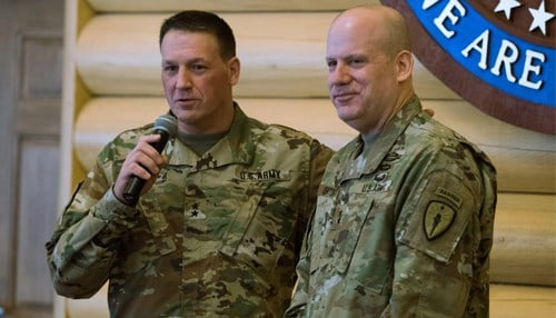 Indiana's Adjutant General, Maj. Gen. Courtney Carr (left), expresses his gratitude toward Denton during a ceremony at Camp Atterbury.