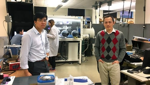 Purdue Mechanical Engineering Professor Kejie Zhao (left) and Industrial Engineering Professor Gary Cheng (right) lead a team focusing on nanotechnology for developing lithium-ion batteries.
