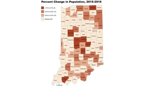 (Graphic provided by Indiana University) Note: Darker shades indicate higher growth.