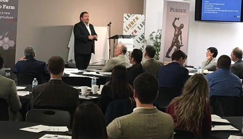 Greg Deason from the Purdue Research Foundation spoke during the showcase at Launch Fishers.