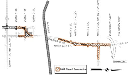 (Map of phase one of the project provided by INDOT.)