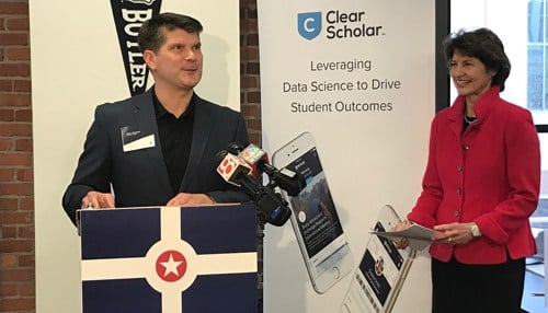 ClearScholar CEO Jason Konesco (podium) was joined at the announcement by Indiana Economic Development Corp. President Elaine Bedel.