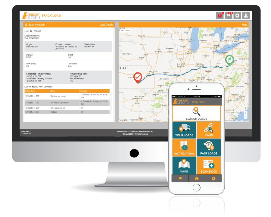 Owner operators download the app to their smartphones and can view the available freight at the company they're leased with to drive.