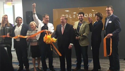 The announcement was made during the grand opening of the Platform 24 coworking space in Carmel. (photo courtesy IEDC)