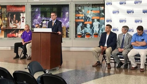 Evansville Mayor Lloyd Winnecke detailed NCAA post-season games coming to the Ford Center.