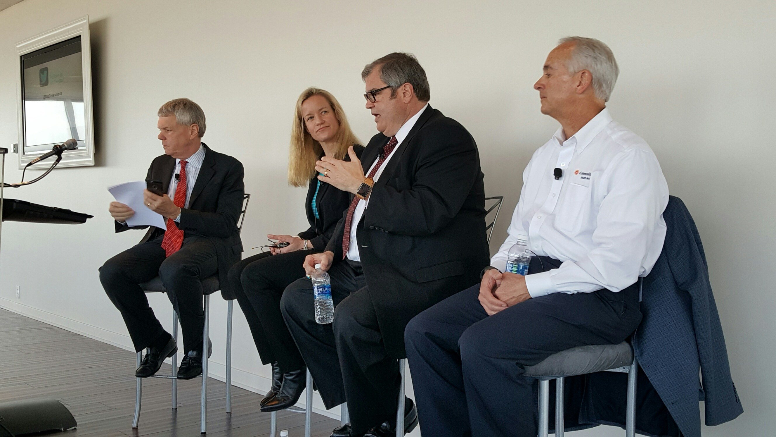 David Johnson, Claire Fiddian-Green, Dr. Paul Halverson and Bryan Mills (left to right) lead a panel discussion at a recent Frameworx.