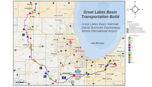 The Great Lakes Basin Transportation rail proposal would've covered more than 260 miles.