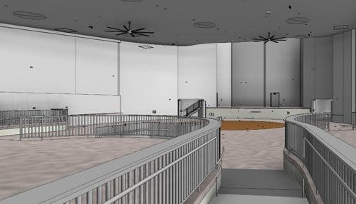 The main performance space will seat 2,200 patrons. (rendering courtesy IEDC)
