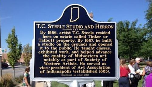 Another historical marker honors T.C. Steele's work in Indianapolis and relationship with the John Herron Art Institute.