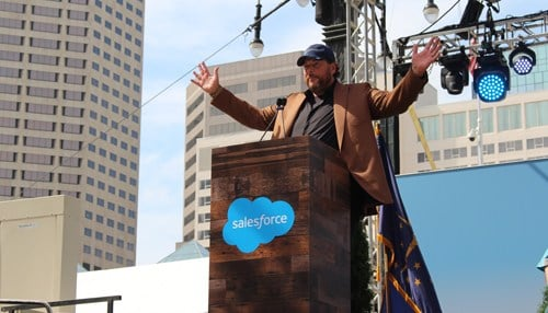 SalesForce CEO Marc Benioff speaking in downtown Indianapolis during grand opening ceremonies.