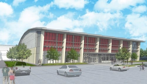 (Rendering of proposed volleyball and wrestling arena provided by Indiana University)