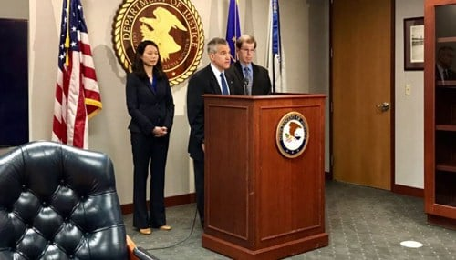 U.S. Attorney Josh Minkler announced the charges related to former Pharmakon executives in June. (photo courtesy WTHR)
