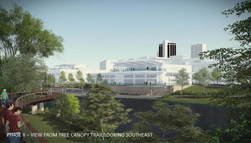 (Rendering of phase two of the Riverfront Fort Wayne project provided by the city of Fort Wayne.)