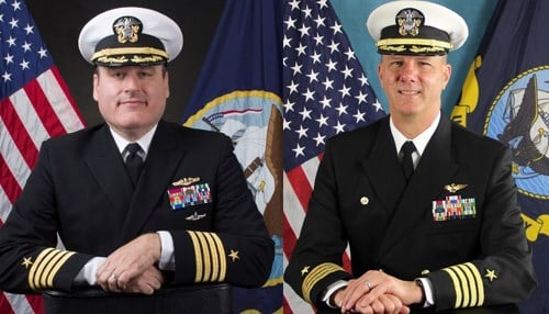 Captain Mark Oesterreich (left) will succeed Captain Jeffrey Elder (right) in command of Naval Surface Warfare Center Crane.