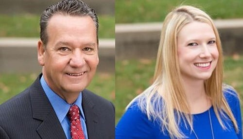 Anne Bono (pictured right) will succeed Jeb Conrad (pictured left) on an interim basis as head of the Greater Bloomington Chamber of Commerce.