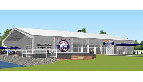 (Rendering courtesy of the Greater Evansville Ball Halls of Fame.)